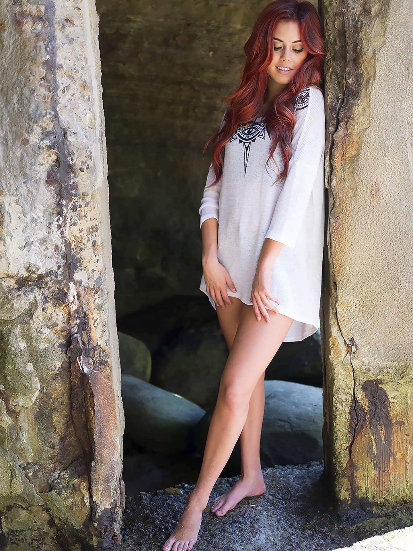 Redhead Lady long legs